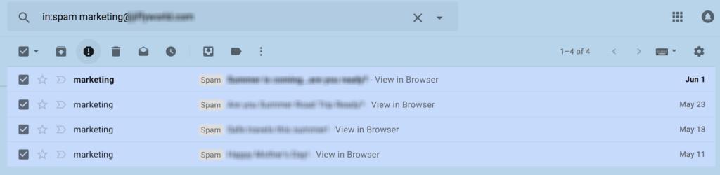 Spam in your inbox example