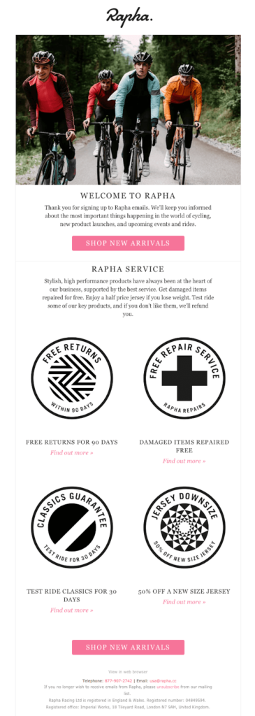 Welcome to Rapha email example