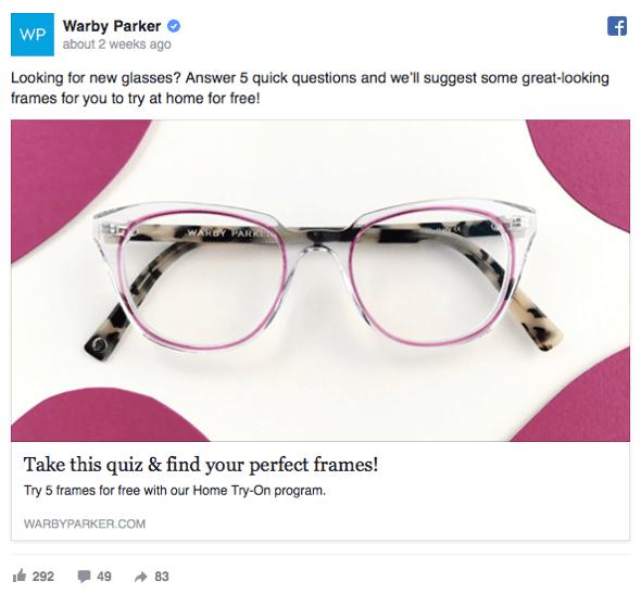 Facebook ad quiz example