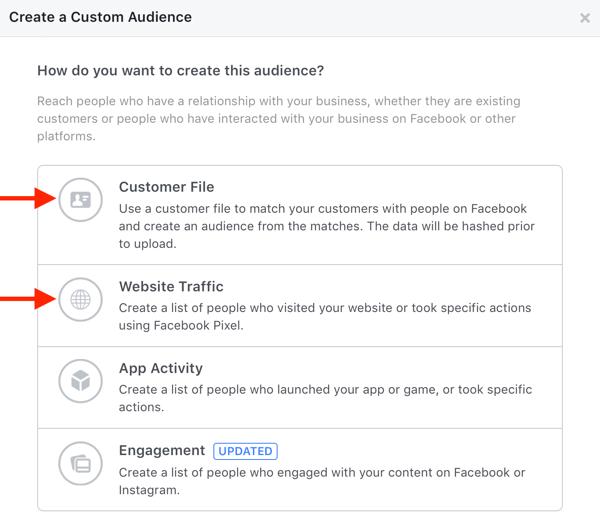 Facebook create custom audiences example