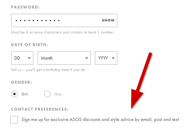 Newsletter checkout example