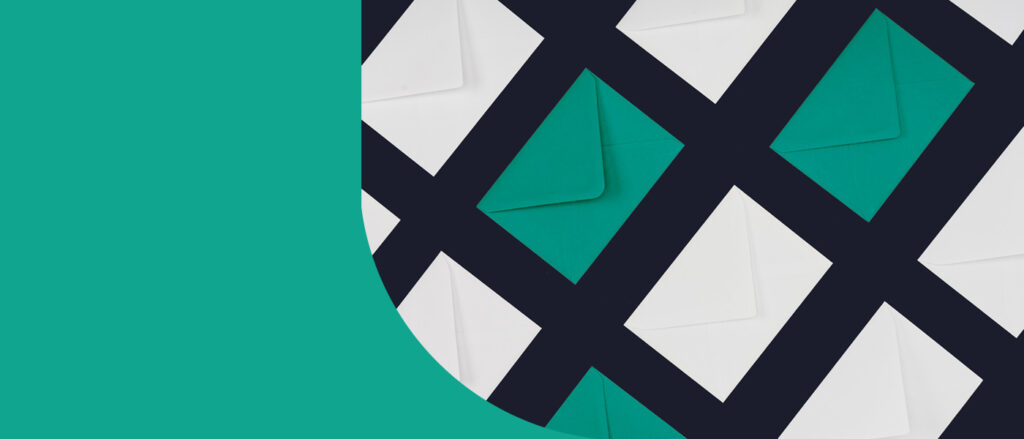 Pattern of white and green envelopes