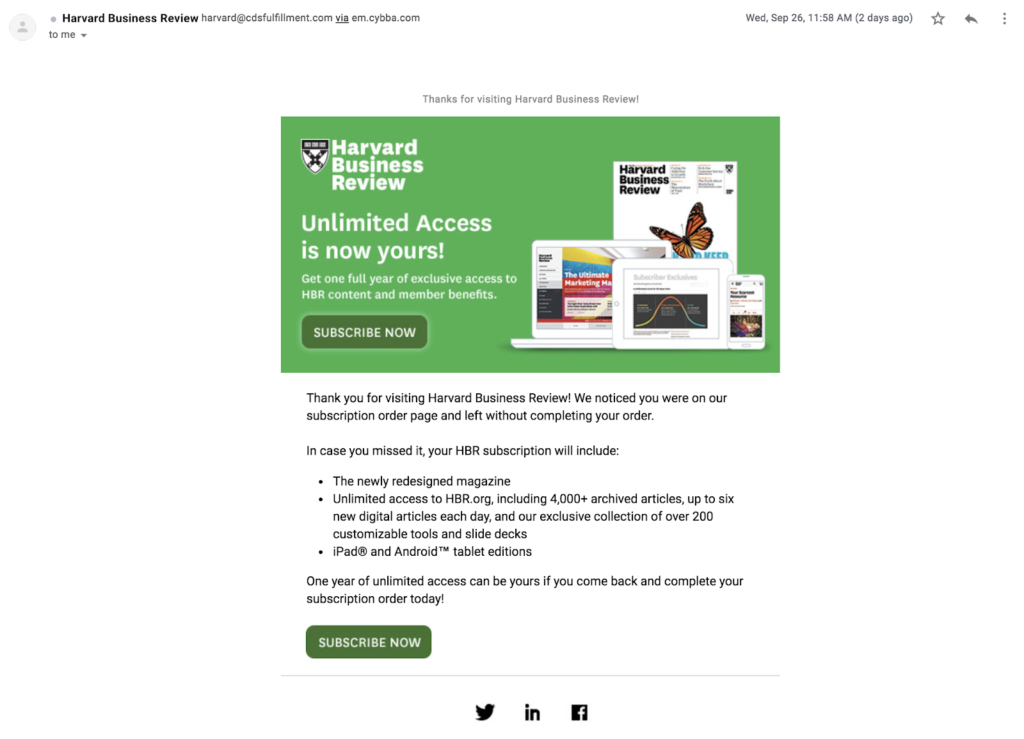 Harvard Business Review email