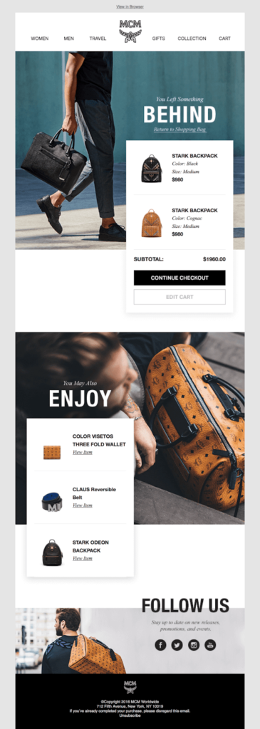 MCM cart abandon email example