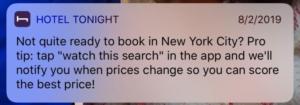 Hotel Tonight push notification example