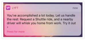 Lyft push notification example