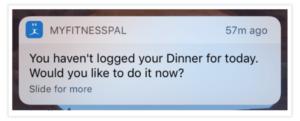 MyFitnessPal push notification example