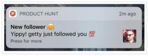 Proudct Hunt push notification example