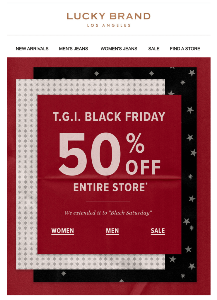 Lucky Black Friday email example