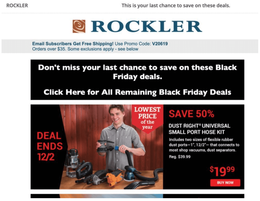 Rockler Black Friday email example