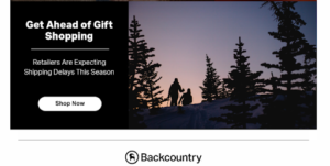 Backcountry holiday promo email