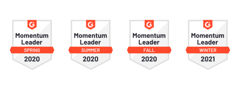 Cordial G2 badge icons from Spring 2020 - Winter 2021