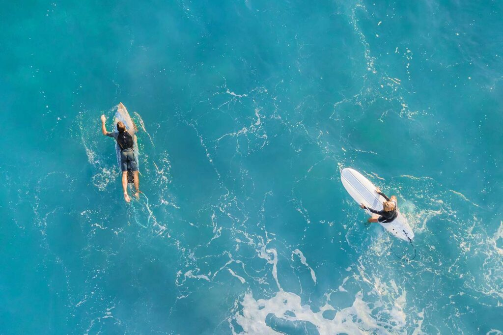 Aerial image of two surfers