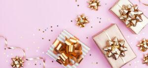 Presents, ribbons, confetti