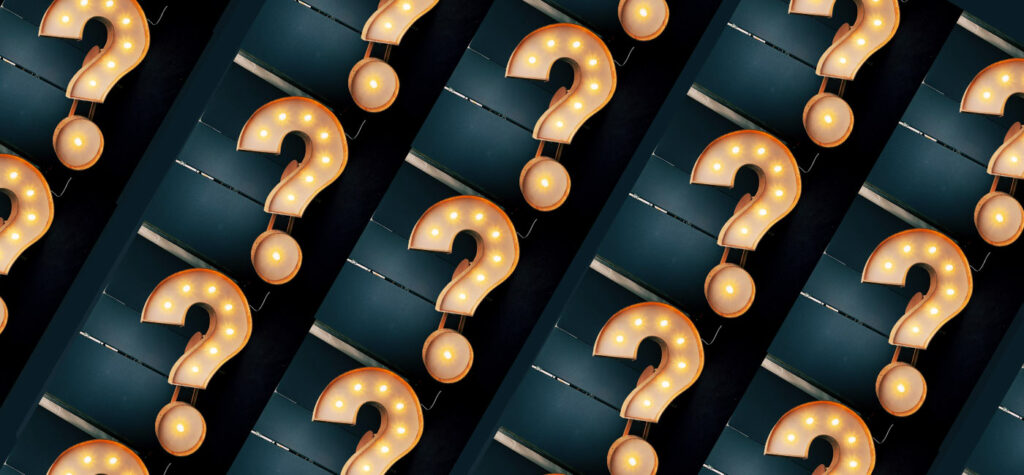 Question mark marquee sign