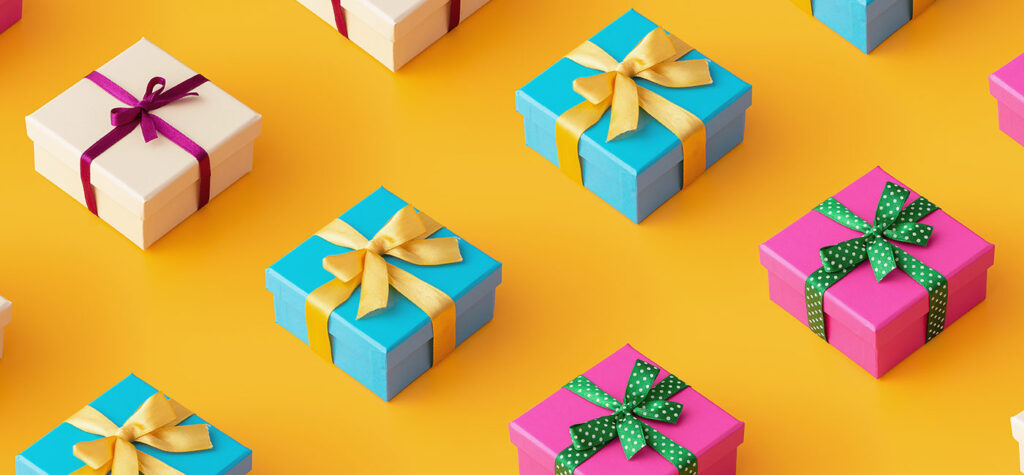 Brightly colored gift boxes