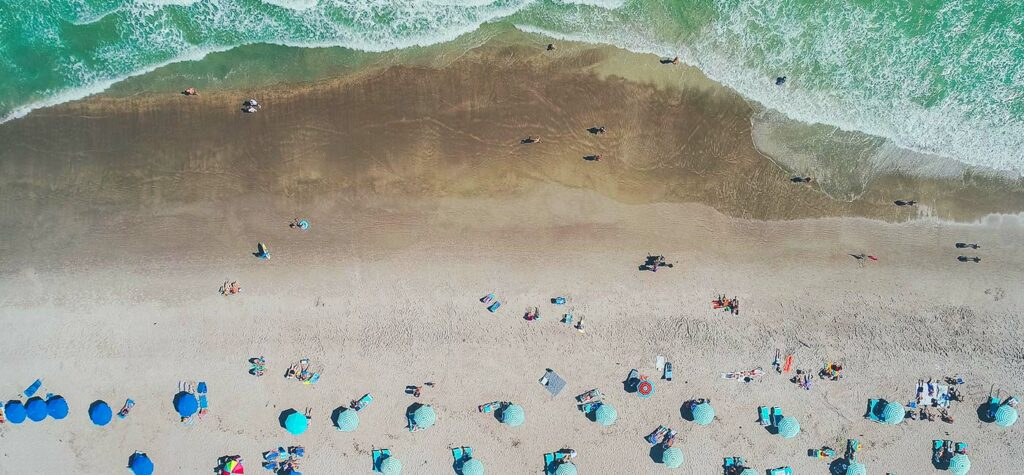 Aerial of people at the beach