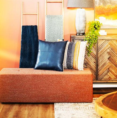 Jeromes furniture set featuring an ottoman